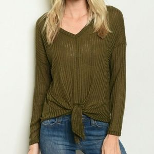 Tops - Olive Ribbed Tie Front Long Sleeved Tie Front To